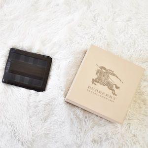 Burberry London Black Check Plaid Tri-Fold Wallet